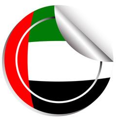 round sticker design for flag of arab emirates vector image
