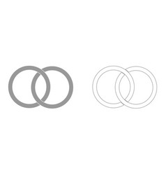 two bonded wedding rings the grey set icon vector image