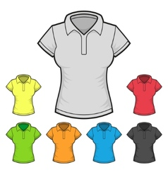 Womens Polo T-shirt Design Template Color Set vector image