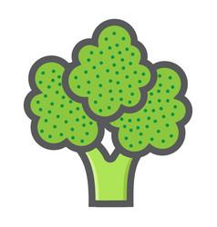 broccoli colorful line icon vegetable vector image vector image