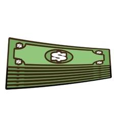 cartoon stacked bill money dollar vector image vector image