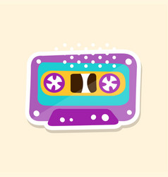 cassette tape cute sticker in bright colors vector image vector image
