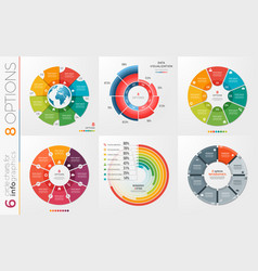 collection of 6 circle chart templates 8 vector image