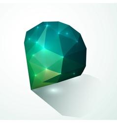 Green shining diamond vector image