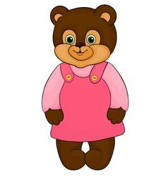 little girl bear cartoon isolated on white vector image
