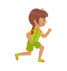little girl running in a green shirt and shorts vector image