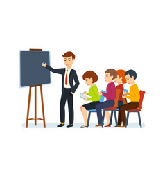 office employee is holding conference for audience vector image vector image