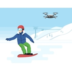 Snowboarding and remote drone with camera vector