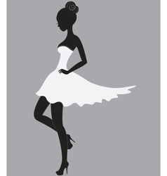 Beautiful girl in white dress vector image
