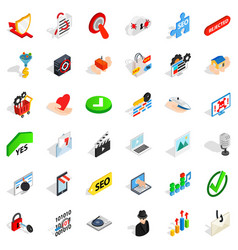 safety cyber icons set isometric style vector image vector image