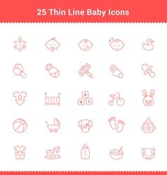 Set of Thin Line Stroke Baby Icon vector image vector image