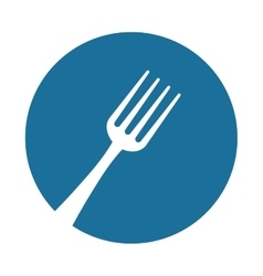 white silhouette fork blue circle background vector image
