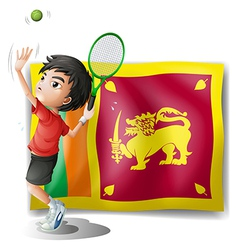 A boy playing tennis in front of the Sri Lanka vector image
