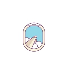 airplane window porthole icon Wing and vector image