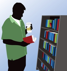 man reading at bookstore vector image vector image