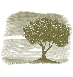woodcut tree landscape vignette vector image vector image