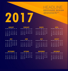 2017 modern calendar design in yellow and purple vector