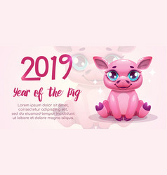 2019 year of the pig new year greeting banner vector image