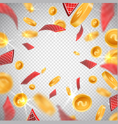 3d dollar gold coinsholdem poker casino cards vector image