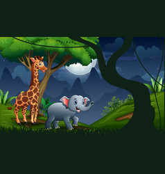 a giraffe and elephant in forest night vector image