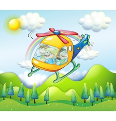 A helicopter with kids vector