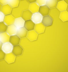 Abstract yellow background hexagon vector