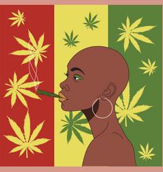 African girl smokes hemp on a background hemp vector