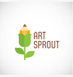 Art sprout abstract emblem label or logo vector