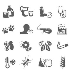 Asthma and allergies bold black silhouette icons vector