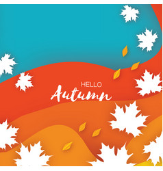 Beautiful autumn in paper cut style origami vector