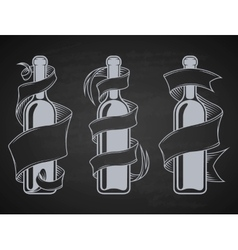 Bottles with ribbon and place for text vector