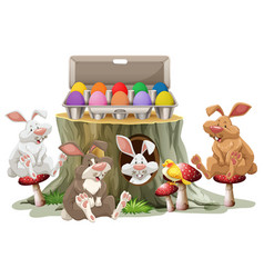 bunny easter and colorful eggs on white background vector image