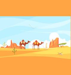 Camel train desert composition vector