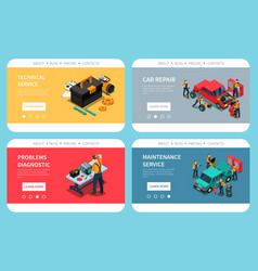 Car service isometric website vector