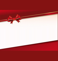 Celebratory background with red ribbon and bow vector