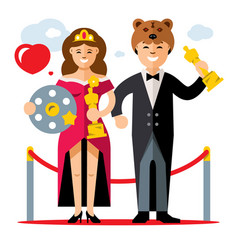 cinema award best actor and actress flat vector image
