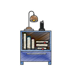 color crayon stripe silhouette of nightstand with vector image vector image