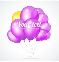 Color glossy violet balloons template for text vector