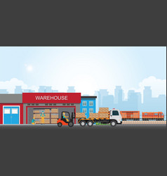 Commercial port with freight train vector