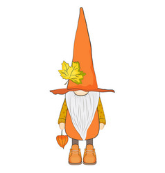 Cute autumn gnome with physalis vector