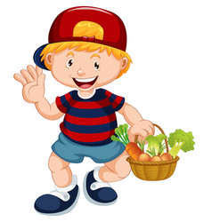 Cute boy with vegetable basket vector