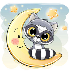 cute raccoon is sitting on the moon vector image