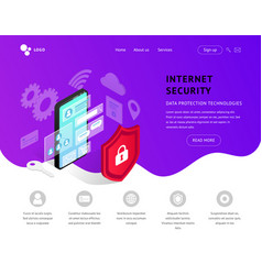 data protection landing page violet vector image