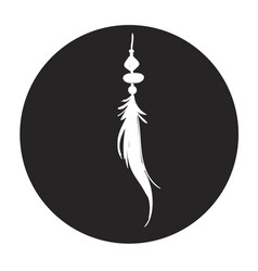 Detailed feather silhouette in a black circle vector