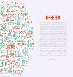 Diabetes concept with thin line icons vector