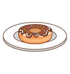 Dish with sweet donut icon vector