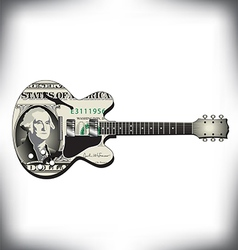 Dollar guitar vector image