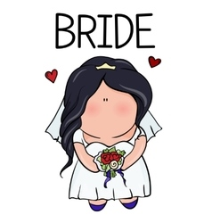 Doodle character cute bride template for print vector