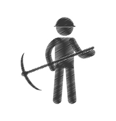 drawing mining man with helmet pick axe figure vector image