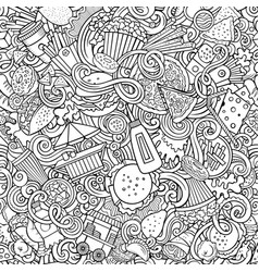Fastfood hand drawn doodles seamless pattern fast vector